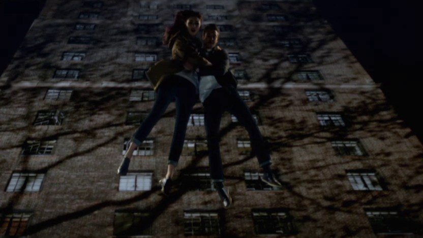 Amy and Rory jumping to escape the Weeping Angels
