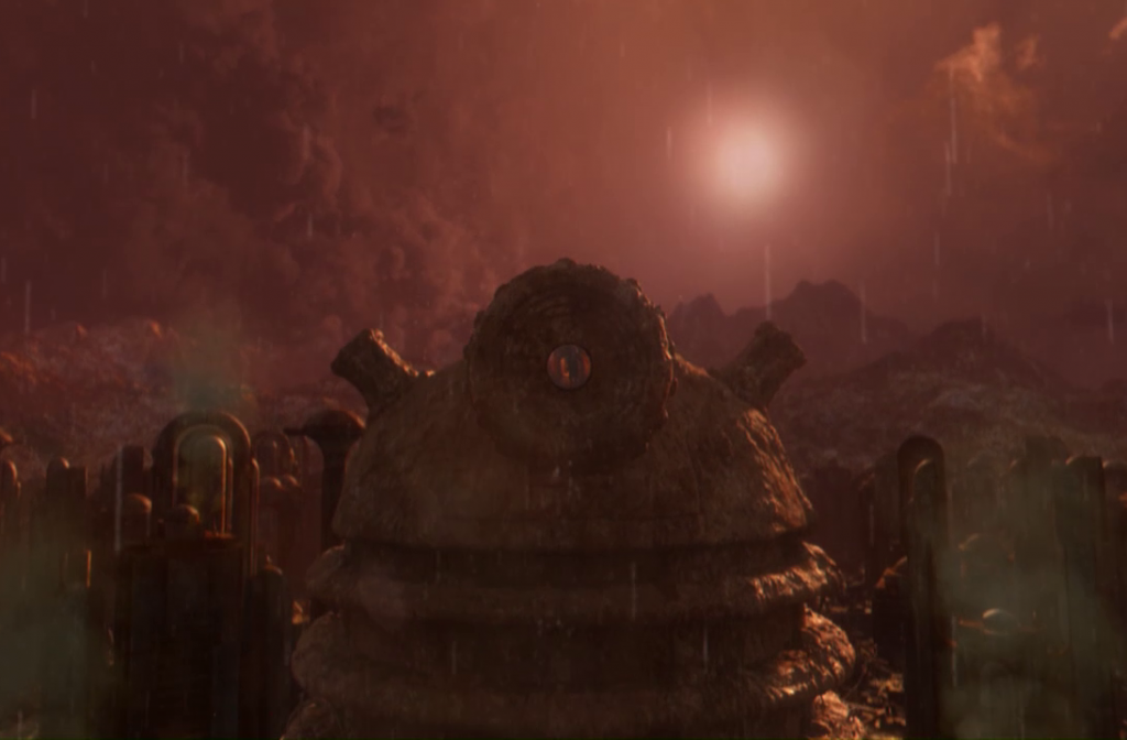 Giant Dalek statue on Skaro
