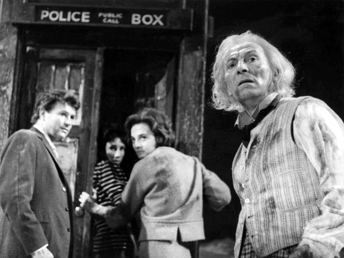 The First Doctor, Ian, Barbara and Susan enter the TARDIS